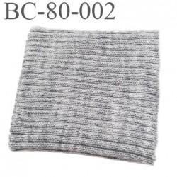 Bord-Côte 80 mm acrylique poignet ou bas de pantalon longueur 80 mm largeur 70 mm couleur gris  prix a la pièce
