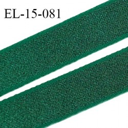Elastique 16 mm bretelle et lingerie couleur vert bouteille brillant fabrication France largeur 16 mm prix au mètre