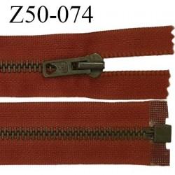 Fermeture zip séparable glissière métal couleur rouille longueur 50cm largeur 32mm