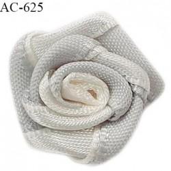 Noeud lingerie fleur 20 mm haut de gamme couleur ivoire et gris diamètre 20 mm