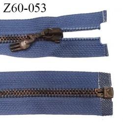 fermeture zip à glissière haut de gamme marque RIRI longueur 60 cm couleur bleu séparable largeur 3 cm