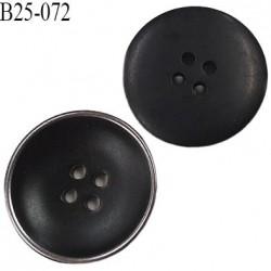 Bouton 25 mm pvc haut de gamme couleur noir et acier chromé 4 trous diamètre 25 millimètres