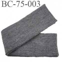 Bord-Côte 75 mm acrylique ceinture grosse côte souple largeur 75 mm longueur 35 cm couleur gris foncé chiné prix a la pièce