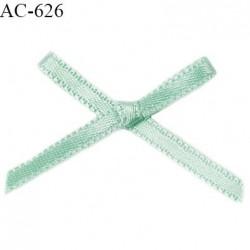 Noeud satin 36 mm lingerie haut de gamme couleur vert lagon satiné largeur 36 mm hauteur 25 mm