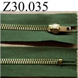 fermeture éclair longueur 30 cm couleur vert kaki zip métal non séparable largeur 3.5 cm largeur du zip 6 mm