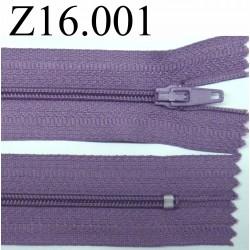 fermeture éclair longueur 16 cm couleur mauve non séparable zip nylon largeur 2.5 cm