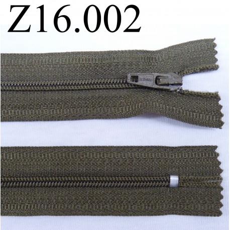 fermeture éclair longueur 16 cm couleur vert kaki non séparable zip nylon largeur 2.5 cm