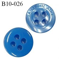 Bouton 10 mm très haut de gamme Saint Hilaire pvc couleur bleu 4 trous