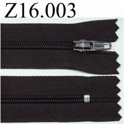 fermeture éclair longueur 16 cm couleur marron non séparable zip nylon largeur 2.5 cm