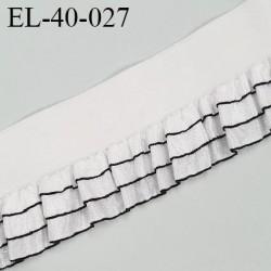 Elastique froufrou picot largeur 40 mm largeur de bande 20 mm + fronce 20 mm couleur blanc et noir prix au mètre