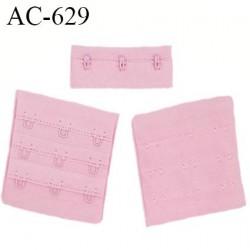 Agrafe attache 55 mm de soutien gorge 3 rangées 3 crochets largeur 58 mm hauteur 55 mm couleur rose