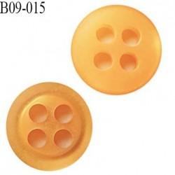 bouton 9 mm  pvc très haut de gamme bouton de grande marque couleur orange 4 trous diamètre 9 millimètres