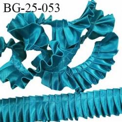 biais galon ruban froufrou largeur 26 mm couleur bleu canard satiné largeur de bande 8 mm + fronce 18 mm prix au mètre