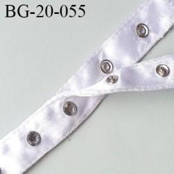 Bande pression agrafe 20 mm bouton strass métal tissu nylon blanc satiné très solide et douce largeur 20 mm prix au mètre