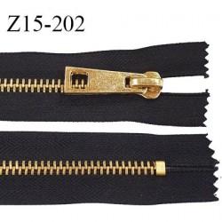 fermeture zip longueur 15 cm couleur noir non séparable zip métal doré largeur 8 mm