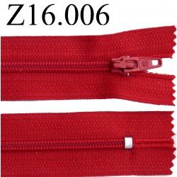 fermeture éclair longueur 16 cm couleur rouge non séparable zip nylon largeur 2.5 cm