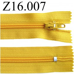 fermeture éclair longueur 16 cm couleur jaune non séparable zip nylon largeur 2.5 cm