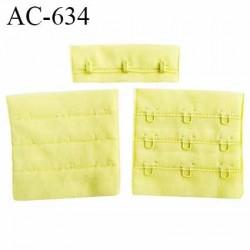 Agrafe attache 57 mm rallonge de soutien gorge 3 rangés 3 crochets largeur 57 mm hauteur 55 mm couleur jaune