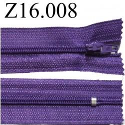 fermeture éclair longueur 16 cm couleur violet non séparable zip nylon largeur 2.5 cm