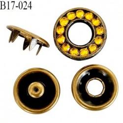 bouton 17 mm pression à griffe métal  couleur laiton ancien avec strass  5 griffes 17 mm ensemble de 4 pièces par bouton