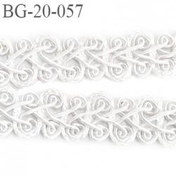 Galon ruban passementerie 20 mm synthétique très belle couleur blanc lumineux  largeur 20 mm  prix au mètre