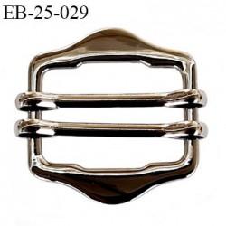Boucle étrier 25 mm rectangle coulissant métal couleur acier largeur extérieur 3 cm largeur intérieur 2.5cm hauteur 1.7 cm