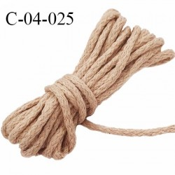 cordon en coton et synthétique très solide couleur beige diamètre 4 mm vendu au mètre