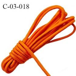 Cordon 3 mm coton et synthétique avec lien intérieur couleur orange très solide diamètre 3 mm Fabriqué en Europe prix au mètre