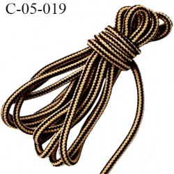 cordon ou lacet synthétique 5 mm  couleur jaune beige et marron diamètre 5 mm haut de gamme très solide prix au mètre
