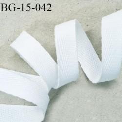 Biais sergé 15 mm 100 % coton superbe souple et doux galon ruban couleur blanc largeur 15 mm prix au mètre
