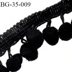 Galon ruban couleur noir hauteur total 35 mm avec des pompons diamètre 15 mm largeur ruban 15 mm prix au mètre