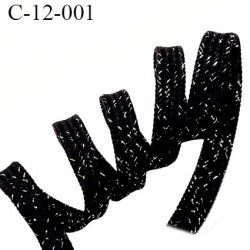 Cordon galon lacet largeur entre 12 et 14 mm couleur noir et argent lurex brillant comme des diamants prix au mètre