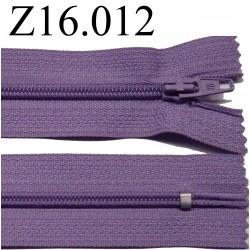 fermeture éclair longueur 16 cm couleur violet clair non séparable zip nylon largeur 2.5 cm