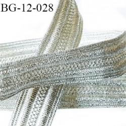 Galon ruban 12 mm lurex couleur argent brillant largeur 12 mm prix au mètre