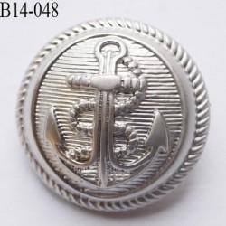 Bouton 14 mm en pvc ancre marine couleur argent diamètre 14 mm accroche au dos avec un anneau prix a la pièce