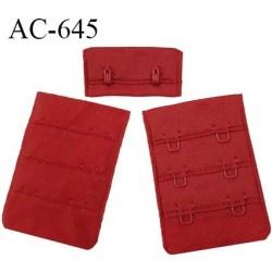 Agrafe 38 mm attache rallonge soutien-gorge 3 rangées 2 crochets couleur rouge brique fabrication européenne