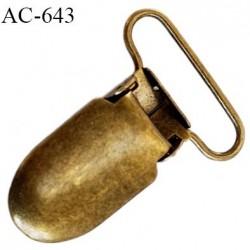 Clip bretelles attache tétines  25 mm rectangulaire métal largeur 16 mm longueur 40 mm passage d'élastique 25 mm prix à l'unité