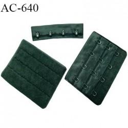 Agrafe attache 76 mm rallonge de soutien-gorge 3 rangées 4 crochets largeur 76 mm hauteur 57 mm couleur vert sapin