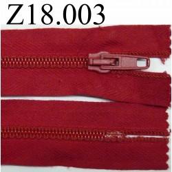 fermeture éclair longueur 18 cm couleur rouge non séparable zip nylon largeur 2.5 cm