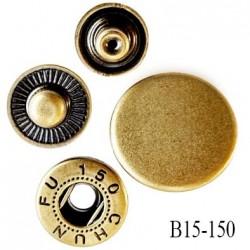 Bouton pression composé de 4 éléments diamètre 15 mm en métal couleur laiton clair