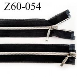 fermeture 60 cm noir séparable invisible double curseur glissière nylon argenté  largeur 3.3 cm largeur de la glissière 4 mm