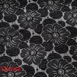 Dentelle brodé  sur tulle a fleurs  couleur noir très haut de gamme largeur 135 cm  prix pour 10 centimètres