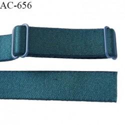 Bretelle 16 mm lingerie SG couleur vert ou fleur de lagune brillant haut de gamme 2 barrettes longueur 42 cm prix à la pièce