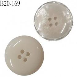 Bouton 20 mm haut de gamme en pvc couleur ivoire nacré 4 trous diamètre 20 mm épaisseur 4 mm prix à l'unité