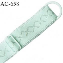 Bretelle lingerie 20 mm haut  gamme vert lagon avec 1 barrette + 1 anneau métal thermolaqué longueur 37 cm prix à l'unité