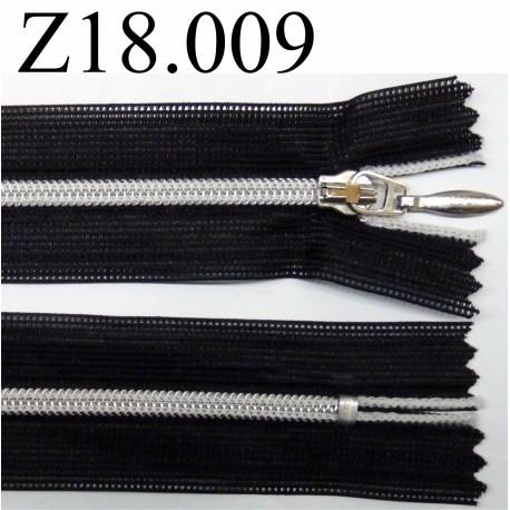fermeture éclair longueur 18 cm couleur noir non séparable zip métal largeur 2.5 cm