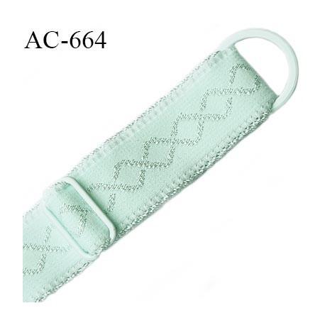 Bretelle lingerie 16 mm haut  gamme vert lagon avec 1 barrette + 1 anneau métal thermolaqué longueur 37 cm prix à l'unité