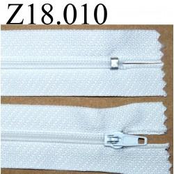 fermeture éclair blanche longueur 18 cm couleur blanc non séparable zip nylon largeur 2.5 cm