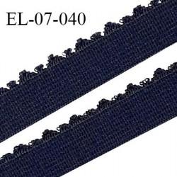Elastique lingerie 7 mm haut de gamme largeur 7 mm + picots 2 mm couleur marine prix au mètre