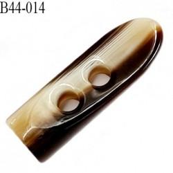Bouton ou brandebourg 45 mm en pvc diamètre 14 mm couleur ivoire et marron 2 trous  longueur  45 mm